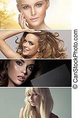 vier, Porträt, Damen, Mehrfach, Betäuben