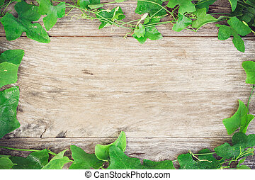 foliage grass on grain wood background