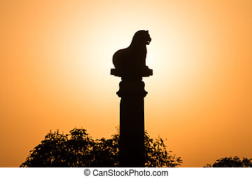 sunset Ashoka pillar at Kutagarasala Vihara, Vaishali,...