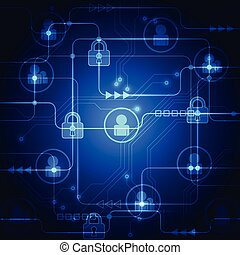 Abstract technology security on global network background,...