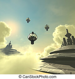 Creature of the night 01 - Future City bild in the sky With...