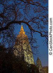 Mahabodhi temple, bodh gaya, India - Night Shot Mahabodhi...