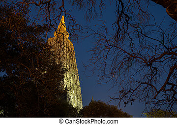 Mahabodhi temple, bodh gaya, India - Night Shot. Mahabodhi...
