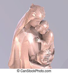 Statue of christian statue of madonna with childImage contains a Clipping Path / Cutting Path for the main object
