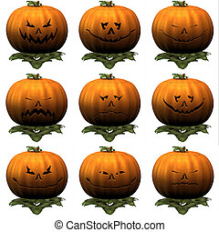 9 Nine Pumkins - Nicked Halloween Pumpkin with nine...