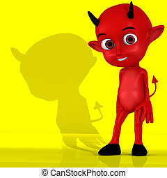 Little Devil 01 - A cute little red devil in front of a...