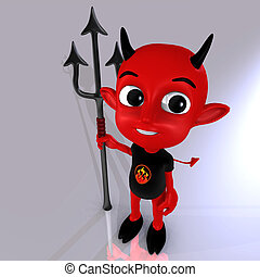 Little Devil 04 - a cute little red devil with a fork in his...