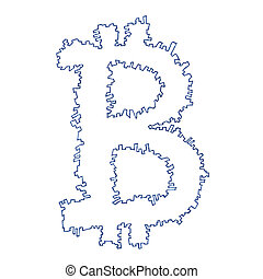 Serrated Bitcoin symbol, handmade drawing of a digital...
