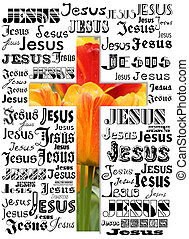 cross - A cross with names of Jesus and tulips
