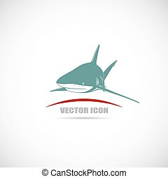Label with shark