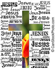 cross - A cross with names of Jesus and a tulip