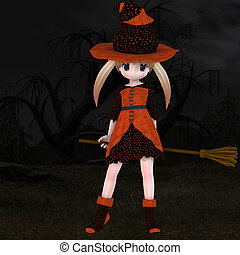 Little Hallowen Witch 03 - Cute little witch with broom With...