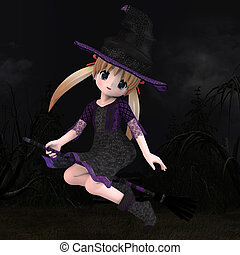 Little Hallowen Witch 01 - Cute little witch with broom With...