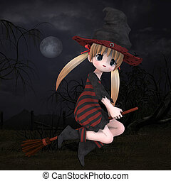 Little Hallowen Witch 02 - Cute little witch with broom With...