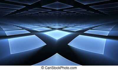Blue Cubical Rotating Perspective S - blue cubic geometrical...
