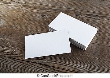 Photo business cards - Blank white business cards on a dark...