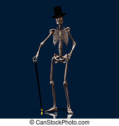 Dancing Skeleton 01 - A dancing Skeleton with hat and stick...