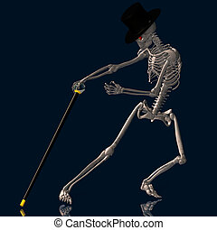 Dancing Skeleton 02 - A dancing Skeleton with hat and stick...