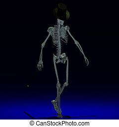 Dancing Skeleton 04 - A dancing Skeleton with hat and stick...