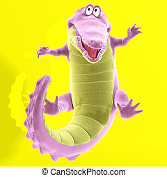 A very cute, plushy cartoon crocodileImage contains a Clipping Path / Cutting Path for the main object