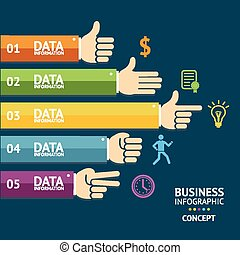 Vector business infographics with hands. Flat - Vector...