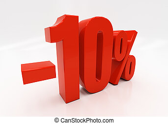 3D 10 percent - 10 percent off Discount 10 3D illustration