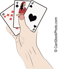 Human hand with playing cards. Vector illustration