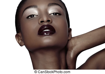 Black Beauty - Beautiful African Amercian woman with dark...