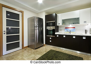 Wide Domestical Kitchen with Door - Wide Domestical Kitchen...