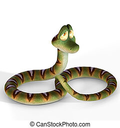 very cute cartoon snake lying on the floorimage contains a Clipping Path / Cutting Path