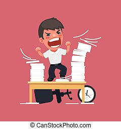 Hysterical Angry Manager Working at the Office In the EPS...