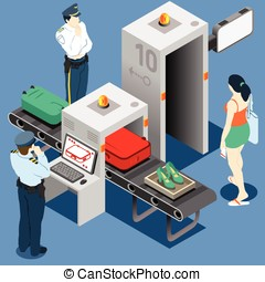 Isometric Security Checkpoint Machine - Isometric Security...