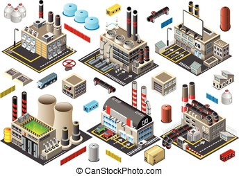 Isometric Building Factory Set - Industry Power Plant