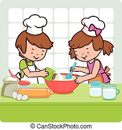 Children cooking in the kitchen - Vector Illustration of a...