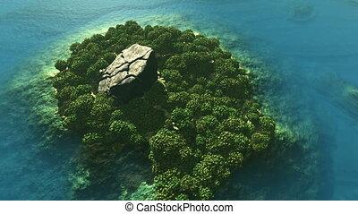 Aerial shot of tropical island