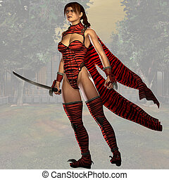 Female Ninja Fighter 02 - Fantasy Series - Image contains a...