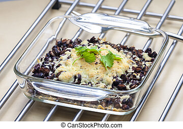 baked black beans with cheese Emmentaler