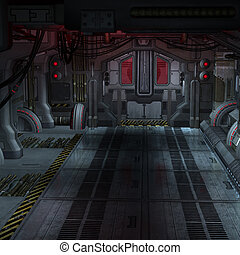 An empty Room in an starcraft vessel. Futuristic Scene