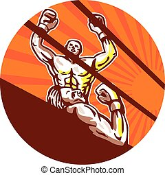 Amateur Boxer Winning Circle Cartoon - Illustration of an...