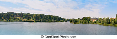 German river panorama - summer river panorama of Potsdam...