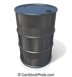 3D illustration of black oil barrel