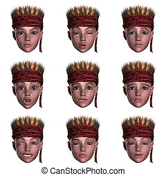 nine emotions with one face - face with nine expressions...