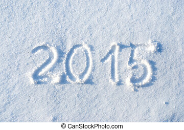 2015 written in snow, new year concept
