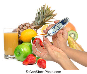 Diabetes diabetic concept Measuring glucose level blood test...
