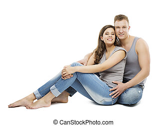 Young Couple Portrait, Happy Girl and Boy Friend in Jeans