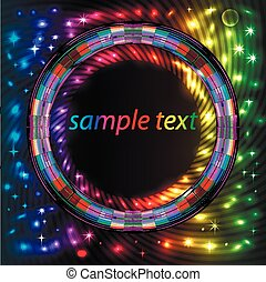 abstract background with bright neon circle for text