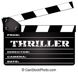 Thriller Clapperboard - A typical movie clapperboard with...