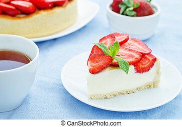 pastel, con, fresas, y, crema, queso,