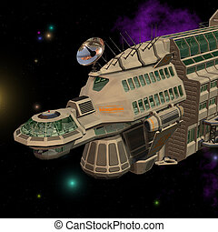 Spaceship 06 - futuristic starship in space with Clipping...