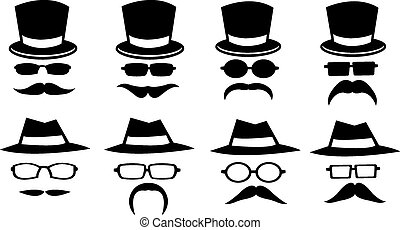 Hats and Moustaches - Vector illustration of isolated hats,...